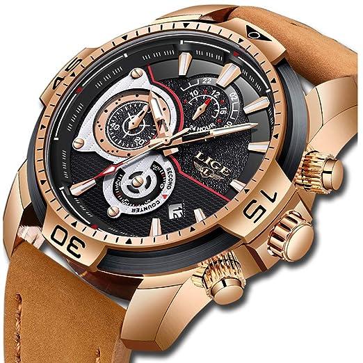 LIGE Relojes para Hombre Militar Impermeable Deporte Cuarzo Analógico Reloj Gents Cronógrafo Fecha Calendario Cuero Marrón Reloj de Pulsera: Amazon.es: ...