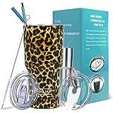 Yoelike 30 oz Tumbler Double Wall Stainless Steel Vacuum Insulated Travel Mug with 2 Straws, 2 Splash Proof Lid, 1 Straw Clea