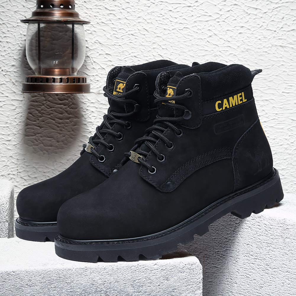 CAMEL CROWN Mens Genuine Leather Work Boots 6\'\' Soft Toe Utility Ankle Boot for Work Casual Walking Rubber Sole Traction