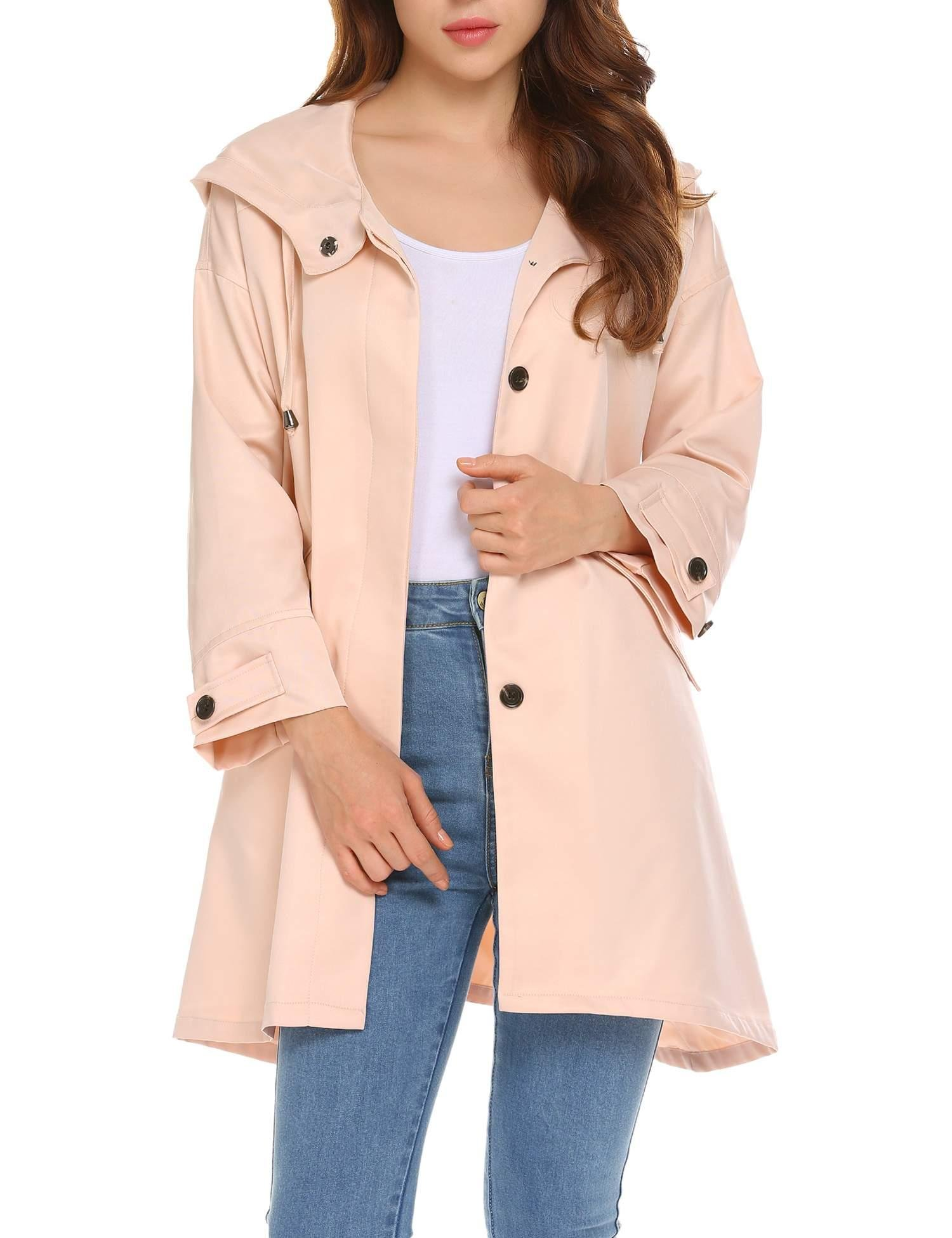 Bulges Women Casual Hooded 3/4 Sleeve Trench Coat Jacket Regular Fit Waist Drawstring Basic Windbreaker Outwear