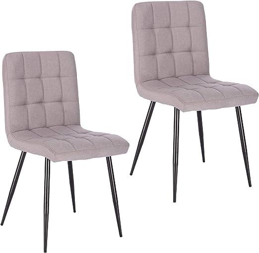 Lestarain Esszimmerstühle 2 Stücke 2er Set Küchenstuhl Polsterstuhl Wohnzimmerstuhl Sessel mit Rückenlehne, Metallbeine, Sitzfläche aus Leinen,
