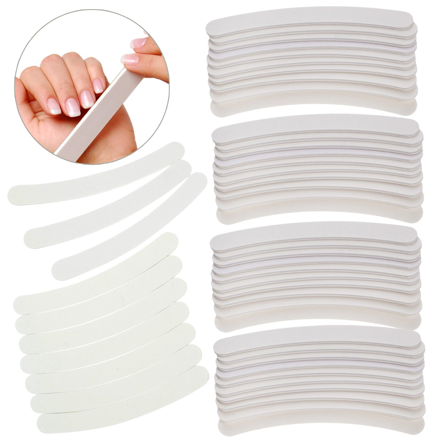 Fantastic Set of 50pcs High Quality Professional Manicure Pedicure Nail Art Accessories 100/180 Boomerang Nails Files / Filers / Sanding Tools In White Colour By VAGA