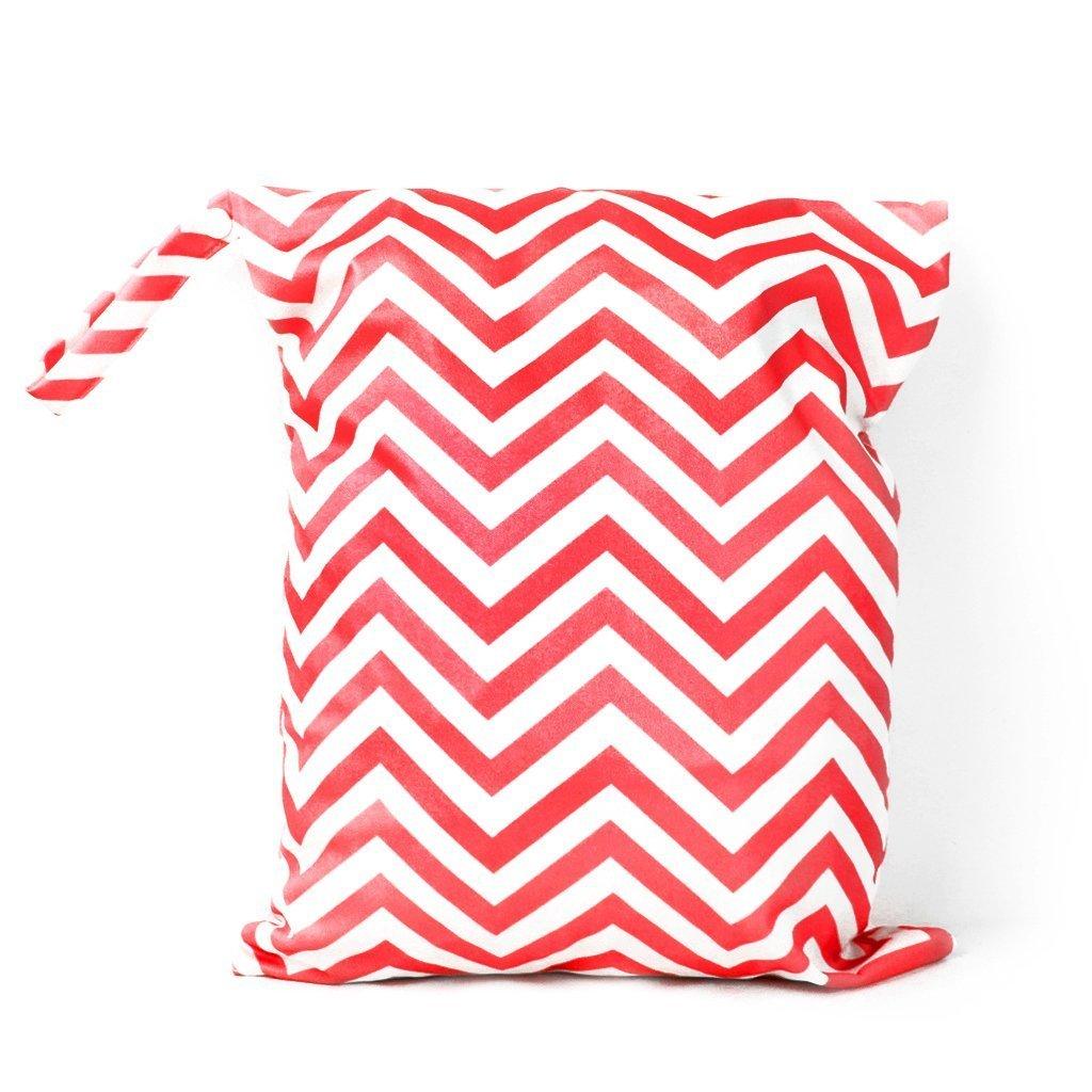 sac a couches - SODIAL(R) Sac a Couches Lavables pour Bebe Reutilisable Etanche Zippe (Rouge et Blanc) AXSSD-000976