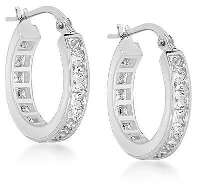 Tuscany Silver Women's Sterling Silver Channel Set Cubic Zirconia 22 mm Creole Earrings 8.58.3519 j92Wms