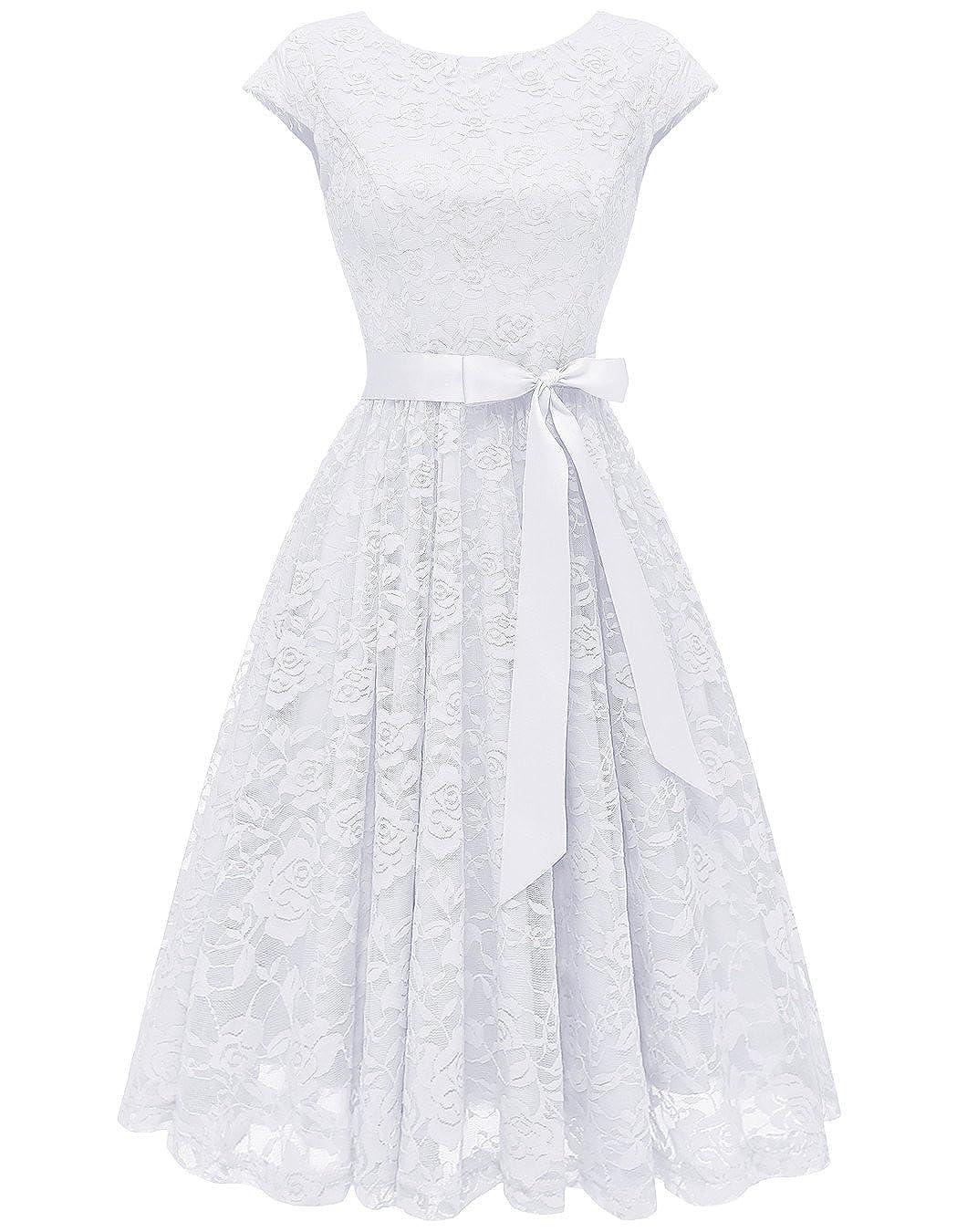 Berylove Frauen Elegantes Spitzen Knielang Brautjungfernkleid Cocktail Kleid Partykleider