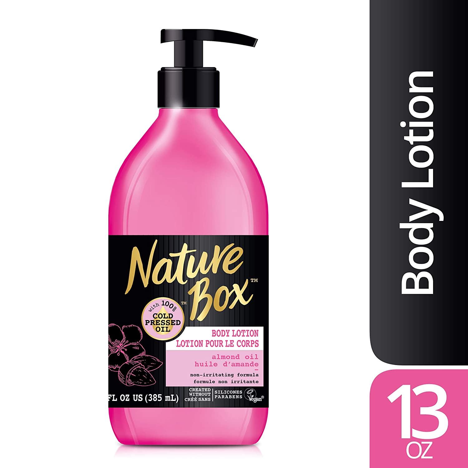 Nature Box Sensitive Skin Body Lotion - with 100% Cold Pressed Almond Oil, 13 Ounce
