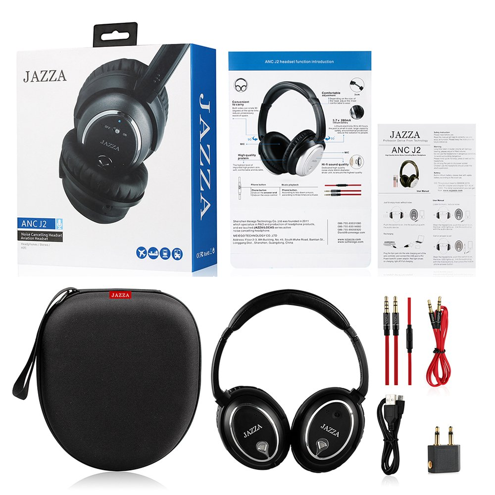 JAZZA ANC-J2 Foldable Stereo Active Noise Cancelling Headphones for Cellphone Smartphone Iphone/ipad/laptop/tablet/computer/MP3/MP4/etc, Strong Bass, Folding and Lightweight Travel Headset (Black)