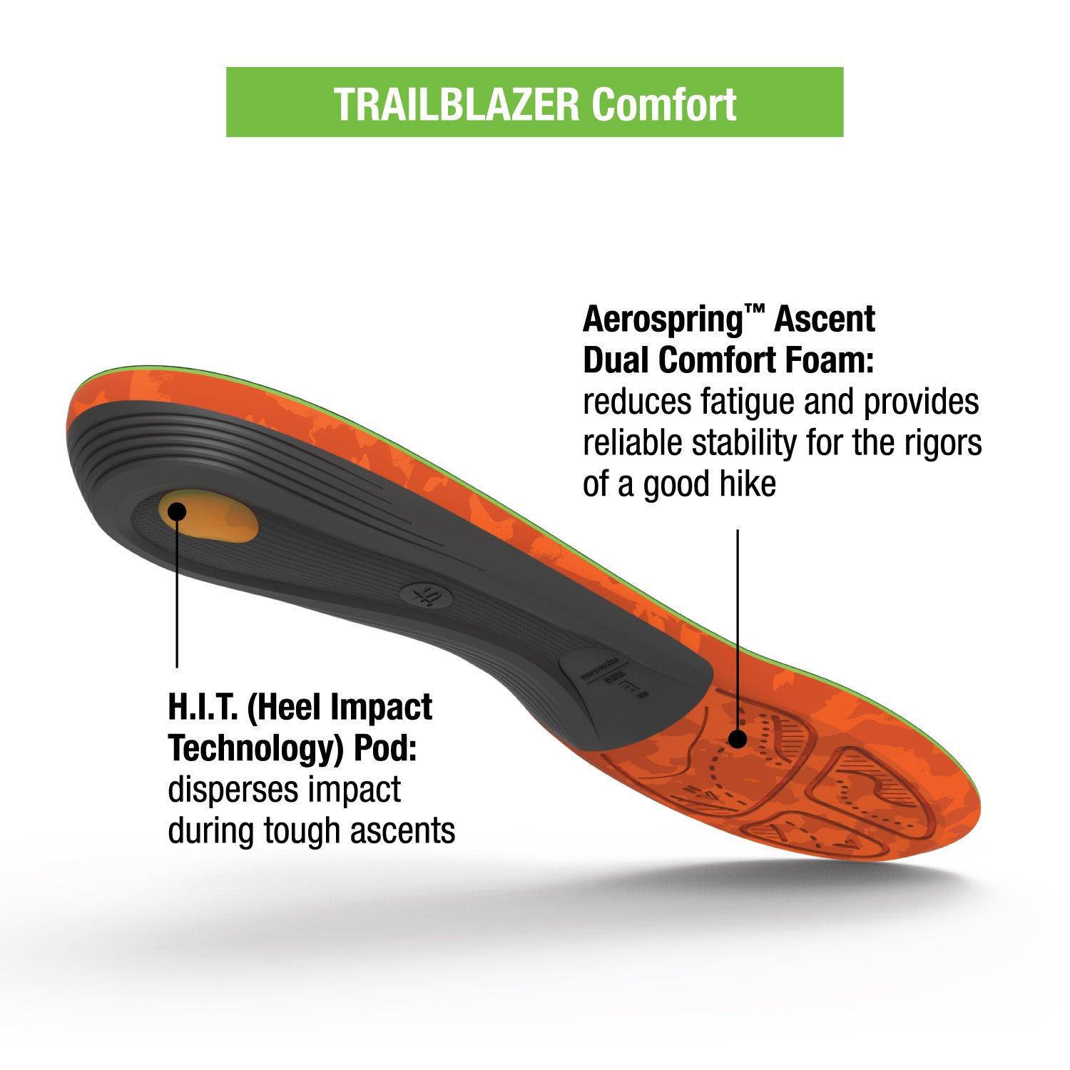 Superfeet Trailblazer Comfort Insoles for Carbon Fiber Orthotic Support and Cushion in Hiking Boots and Trail Shoes, Pine, F: 12+ US Womens / 11.5-13 US Mens by Superfeet (Image #4)