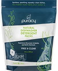 Puracy Natural Dishwasher Detergent Packs (50ct), Enzyme-Powered Dish Tabs, Free & Clear, 50 Tablets