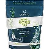 Puracy 天然洗碗机清洁剂包,酶动力自动清洁片,免费透明,50 片