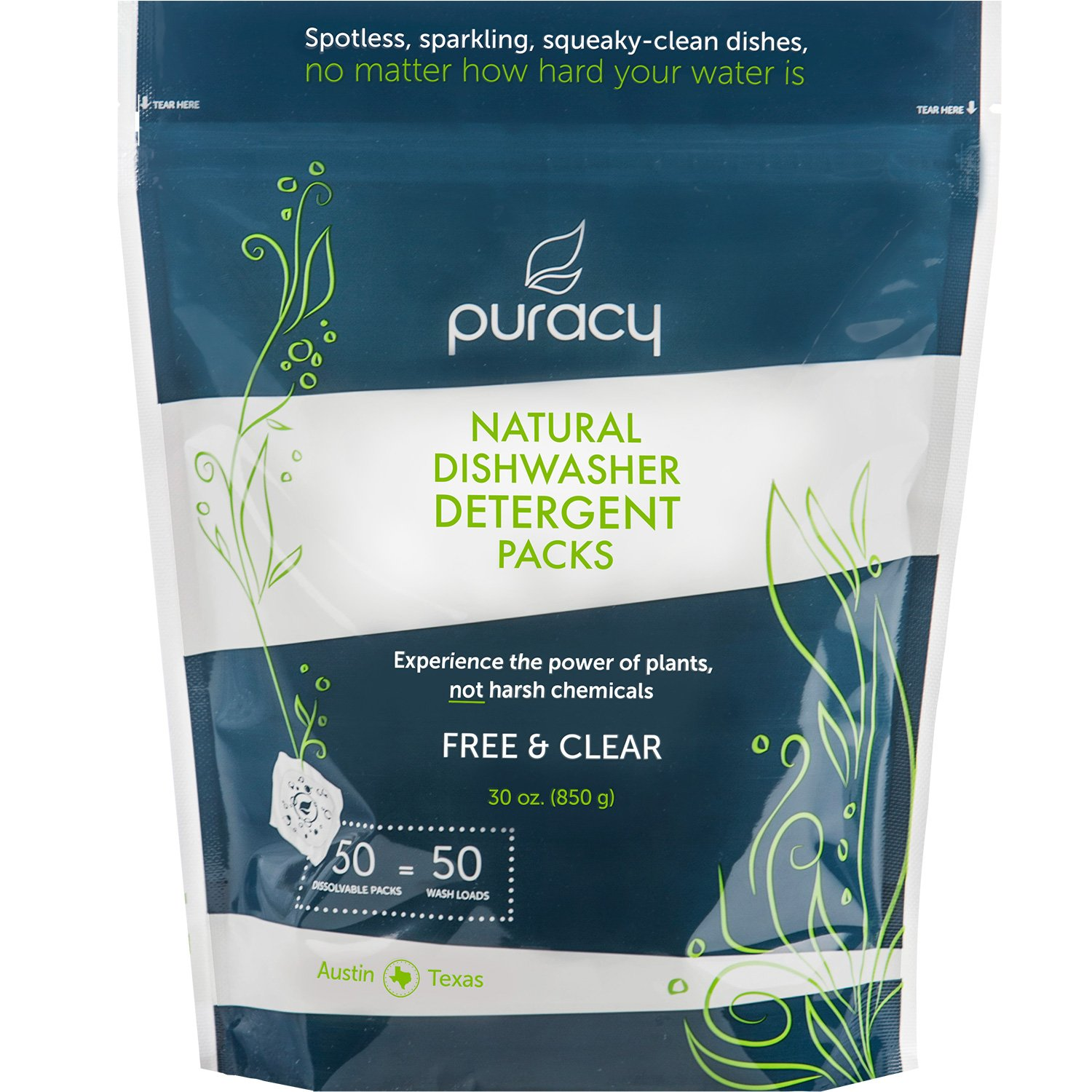 Puracy Natural Dishwasher Detergent Packs, Enzyme-Powered Auto Dish Tabs, Free & Clear, 50 Count