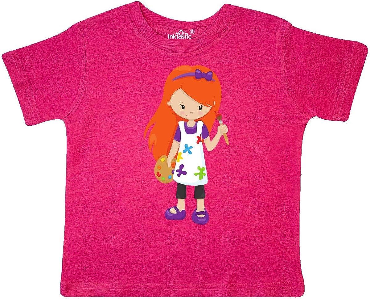 Painter inktastic Cute Girl Paint Artist Toddler T-Shirt Orange Hair