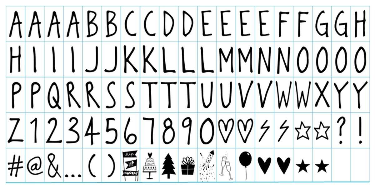 Ai-life 95 Pezzi DIY Cinema Segno Natale Carte Lettere, Numeri, Glifi e Simboli Speciali Decorativi Carte per Lightbox A4 Cinematic Light Box Supplemento Placchette