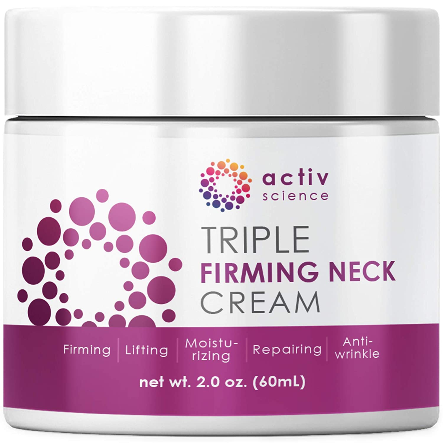 ACTIVSCIENCE Neck Firming Cream, Anti Aging Moisturizer for Neck & Décolleté, Double Chin Reducer, Skin Tightening Cream
