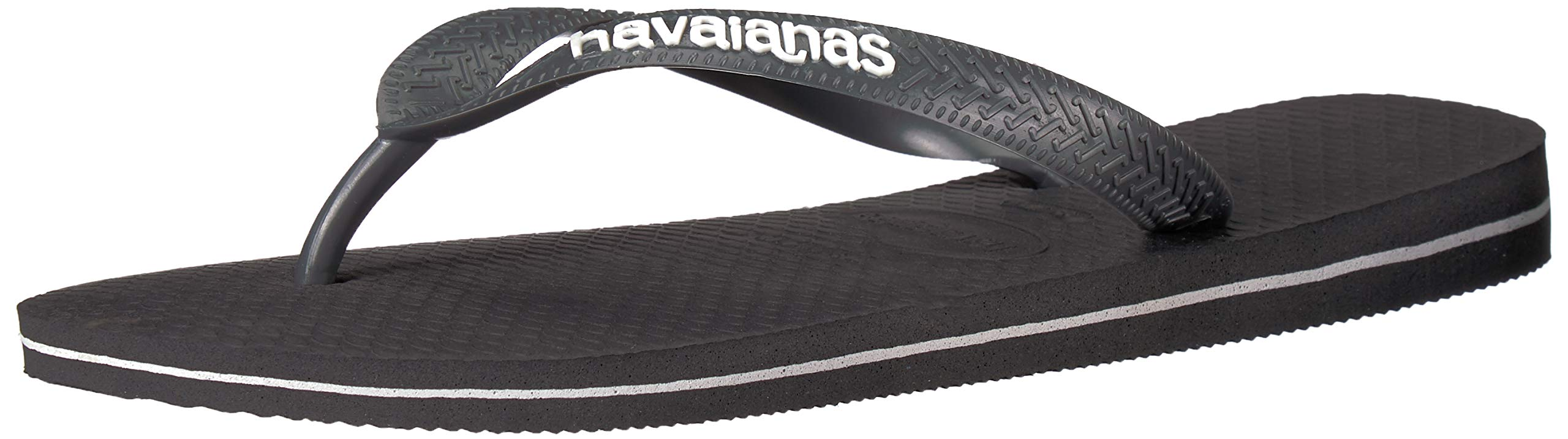 Havaianas Men's Top Logo Filete Sandal,Grey/White,43/44 BR (11-12 M US)