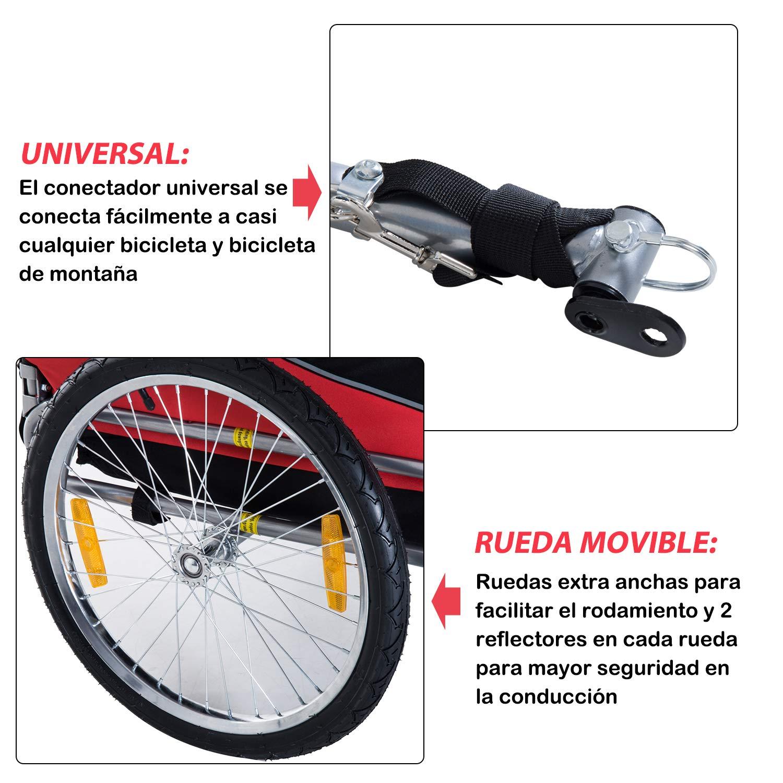 PawHut Remolque Bicicleta Perros Mascota 1 Bandera 6 Reflectores Remolque Bici Rojo Negro: Amazon.es: Hogar