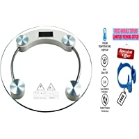 IONIX Electronic Round 8 Mm Thick Tempered Glass Electronic Digital Personal Bathroom Health Body Weight Weighing Scale