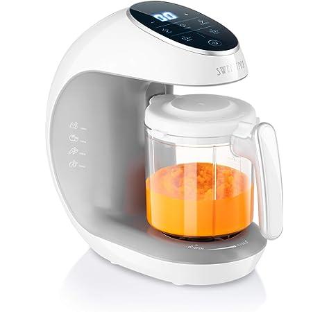 Leogreen - Robot Alimentos para Bebés, Licuadora de Alimentos para Bebés, Blanzo/Azul, Función: Vaporera y Licuadora 2 en 1, Voltaje: 220-240 V: Amazon.es: Bebé