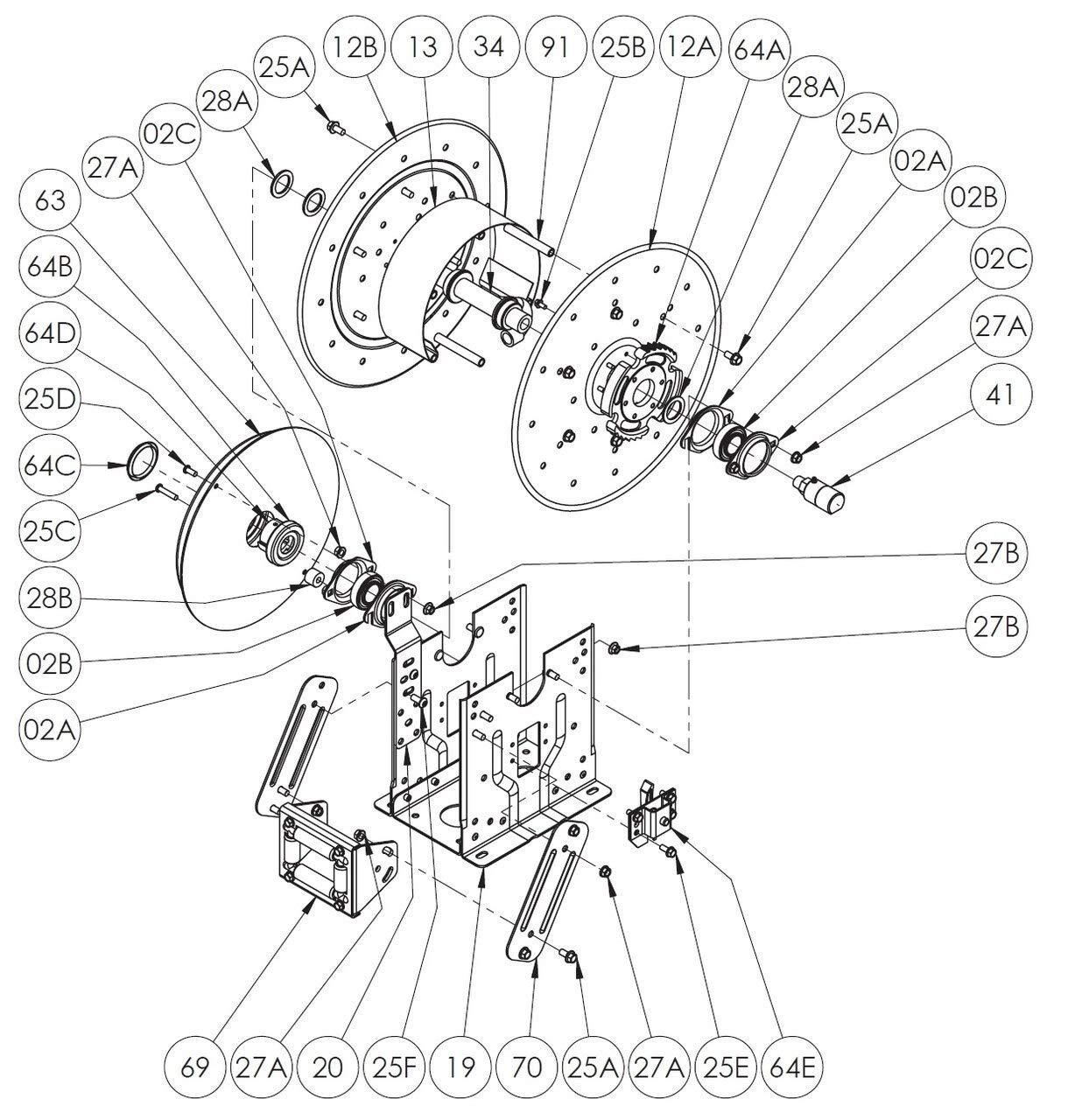 All 64E DEF Series Spring Rewind Reel Parts Ratchet Lock