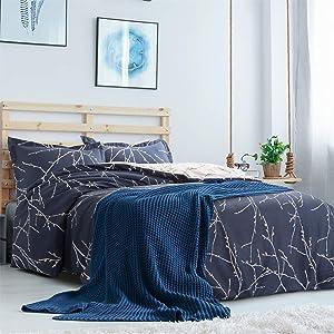 "Bedsure Duvet Cover Set with Zipper Closure-Branch and Plum Blue Printed Pattern,Full/Queen (90""x90"")-3 Piece (1 Duvet Cover + 2 Pillow Shams)-110 GSM Ultra Soft Hypoallergenic Microfiber"