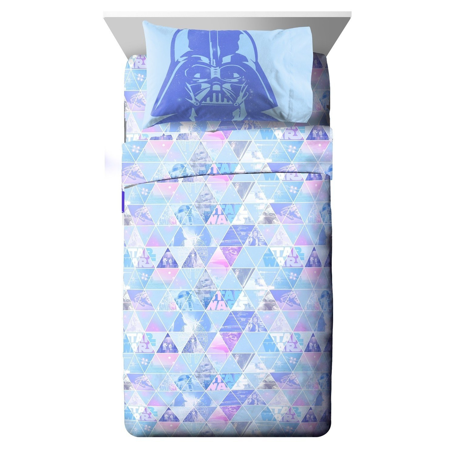 CA 3 Piece Kids Girls Teal Blue Purple Star Wars Sheet Set Twin Sized, Girly Pink Starwars Bedding Darth Vader Triangle Pattern Chewbacca Stormtroopers Movie Themed Galaxy Space R2-D2, Microfiber