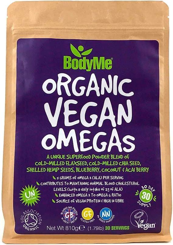 BodyMe Orgánico Vegano Omegas Polvo   810g   Vegan Omega 3 6 9 Mezcla   Con Semilla De Lino Molida Semilla De Chía Molida Semillas De Cáñamo Arándano ...