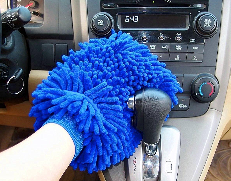 maison Lot de 2 gants de lavage en microfibres par Alison avec 2 chiffons pour nettoyage de voiture