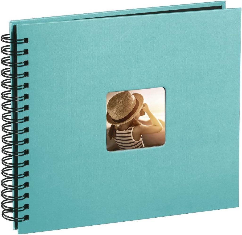 Hama Fine Art - Álbum de fotos, 50 páginas negras (25 hojas) para pegar fotos, álbum con espiral, 28 x 24cm, con compartimento para insertar foto, turquesa
