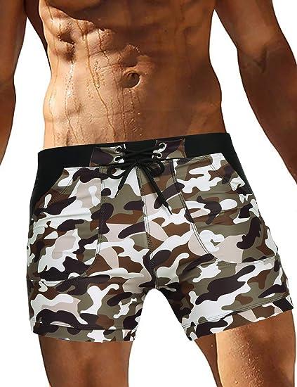 Men Swimming Trunks Camo Shorts Men/'s Briefs Surf Swimsuits Beach Boxer Pockets