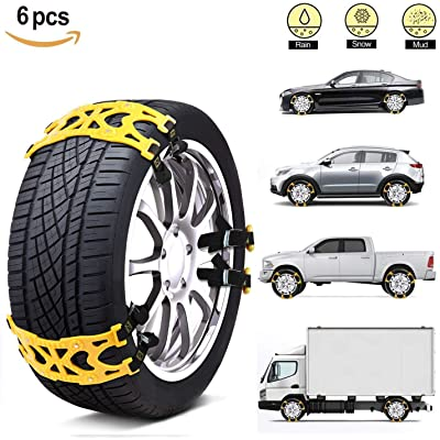 MONODEAL Snow Tire Trains, Durable Anti-Slip Snow Trains for Car, SUV, Van, Pickup Trucks, Universal Anti Skid Tire Chains for Emergencies and Occasional Use: Automotive
