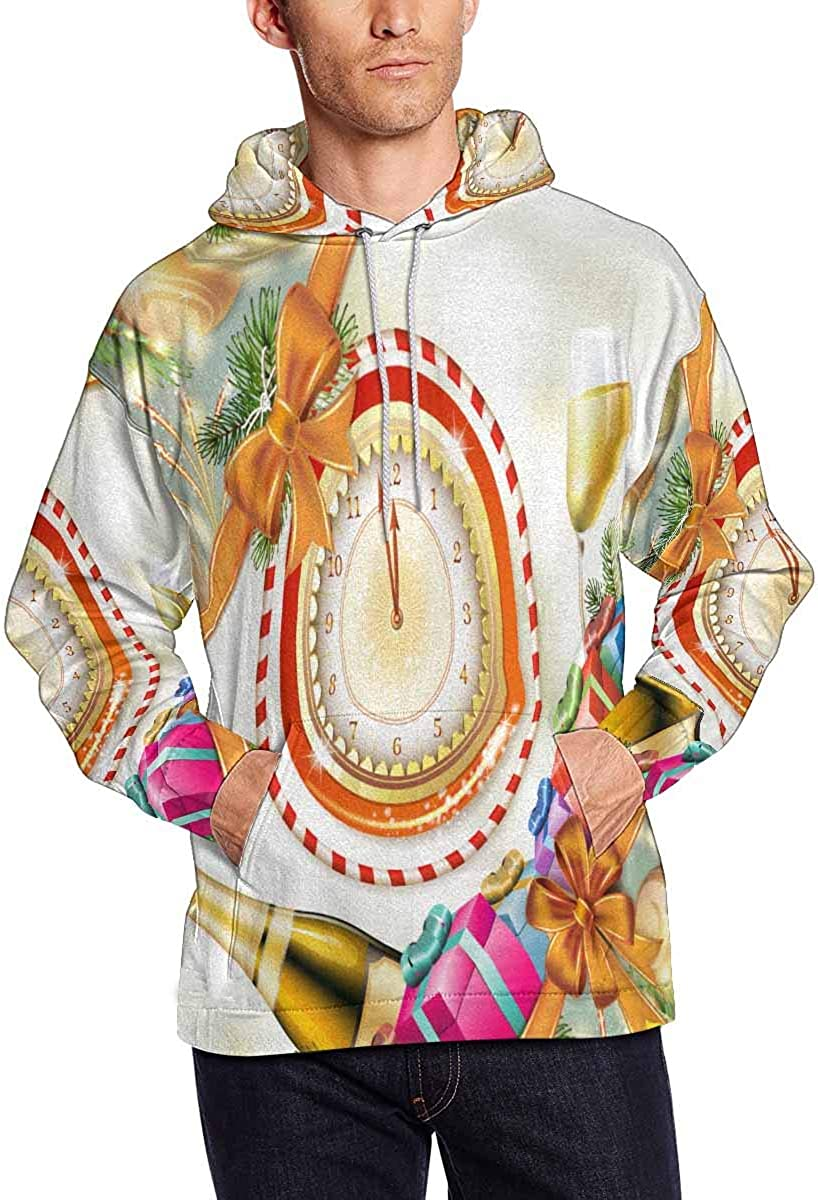 INTERESTPRINT Mens Wood Barrel for Wine with Autumn Colorful Leaves and Grapes Hooded Sweatshirt