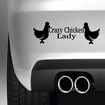 Crazy chicken lady bumper sticker funny bumper sticker car van 4x4 window paintwork decal graphic