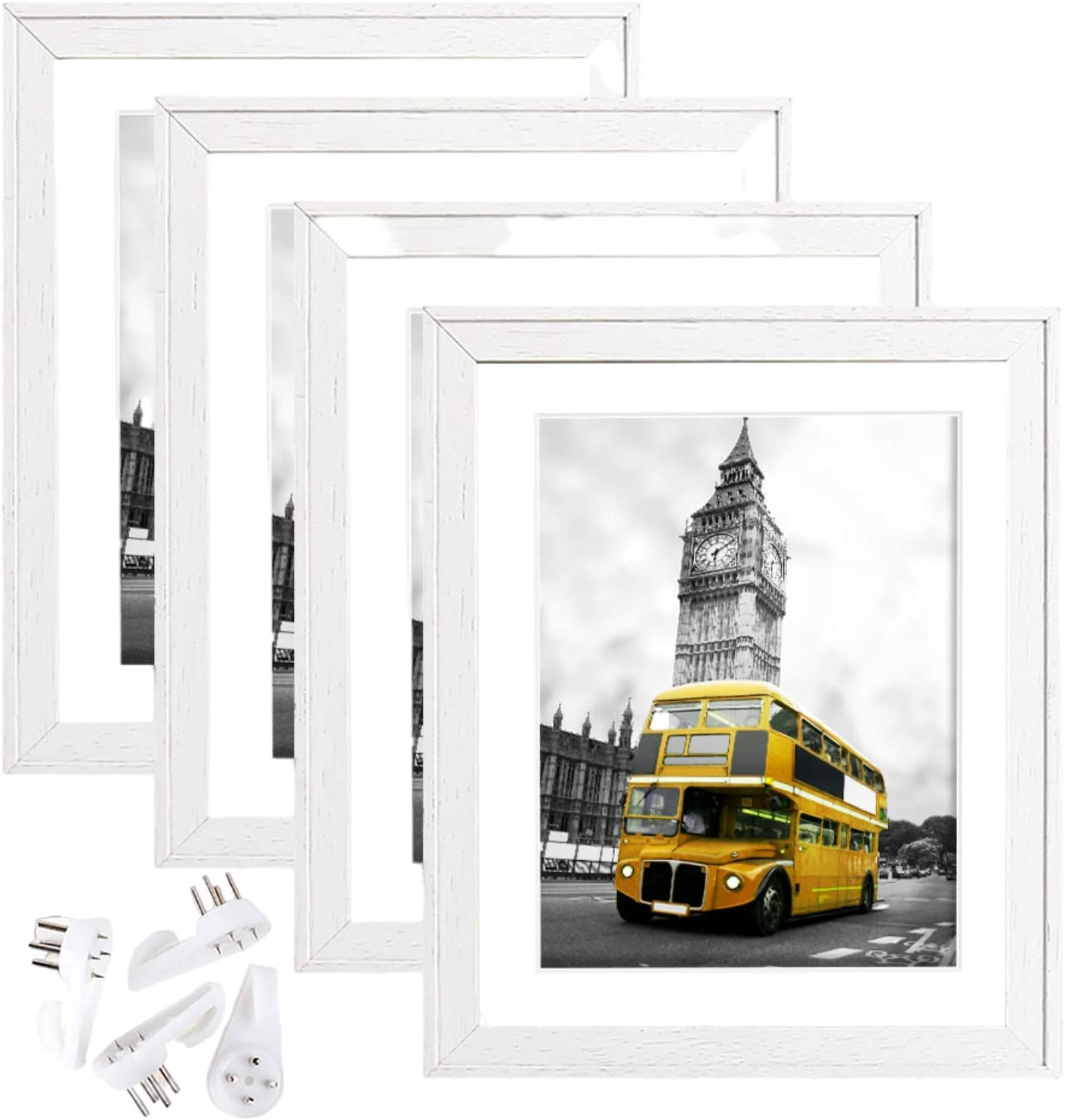 8x10 Picture Frames Set of 4, Photo Frames 8X10 Made of Solid Wood, White picture frames Without Mat, BWPFRAME frames for Multi Photo Frames Collage Wall Display