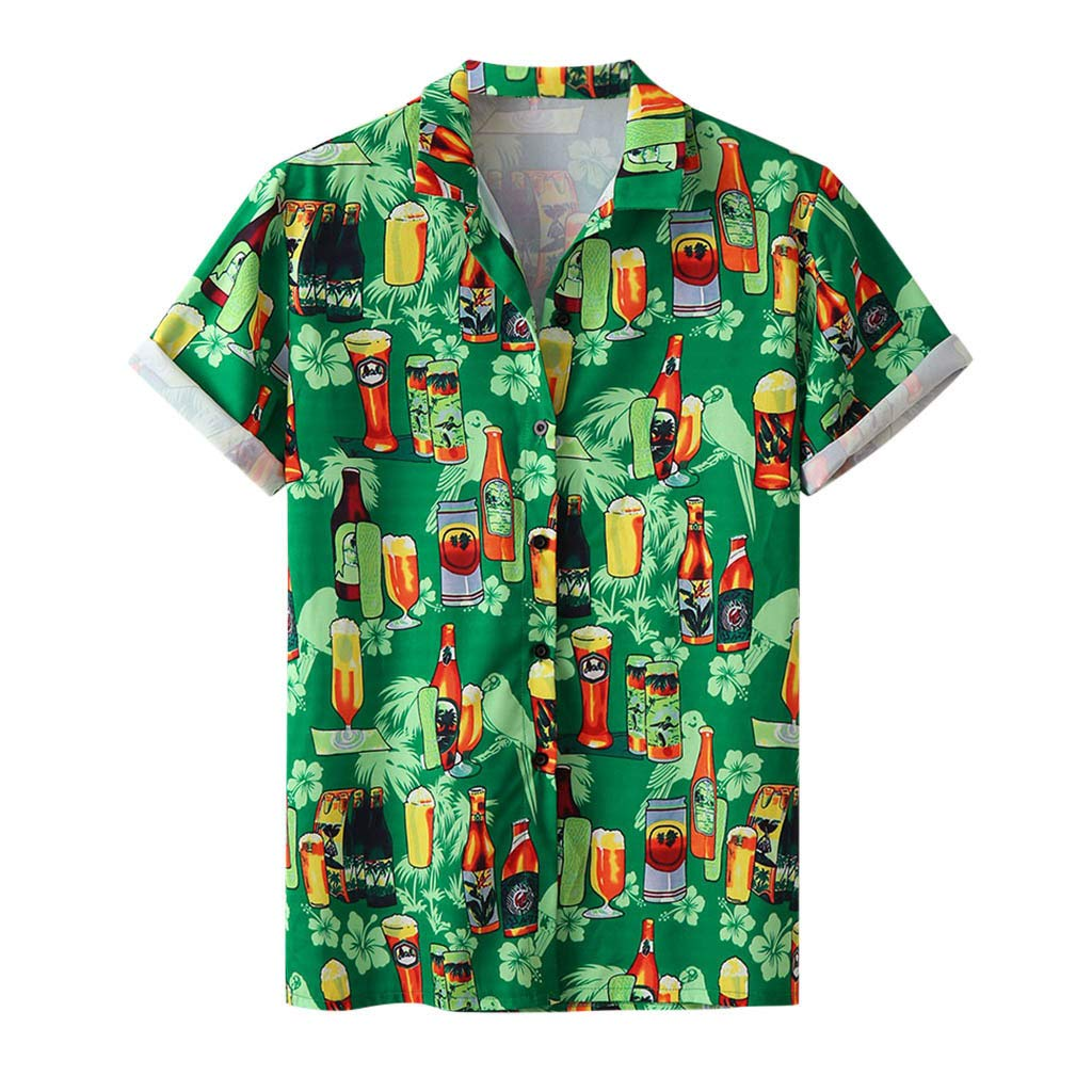ZOMUSAR 2019 Blouse for Men, Stylish Men's Beer Festival Printed Hot Style Shirt with Short Sleeves Green
