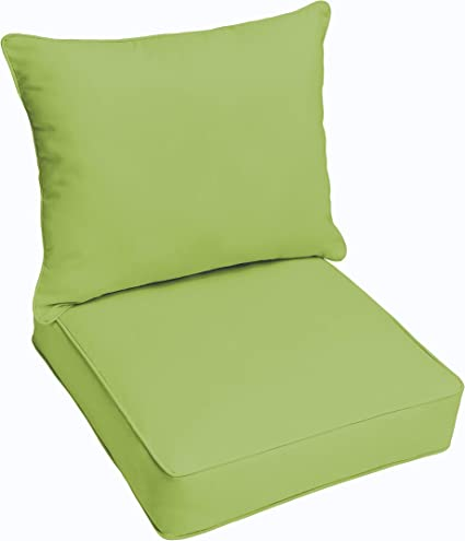 QILLOWAY Indoor//Outdoor All Weather Square Seat Patio Cushion 19-Inches Green Pack of 2