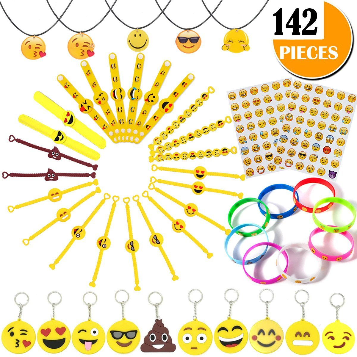 Emoji Party Supplies Kids' Dress-up Toys Bulk Set - 142 Pieces Emoticon Rubber Wristbands Bracelets Assorted Kit - Birthday Party Favor Decoration Mega Pack - Children Prizes Novelty Crafts Gift by Youwith Joy (Image #1)