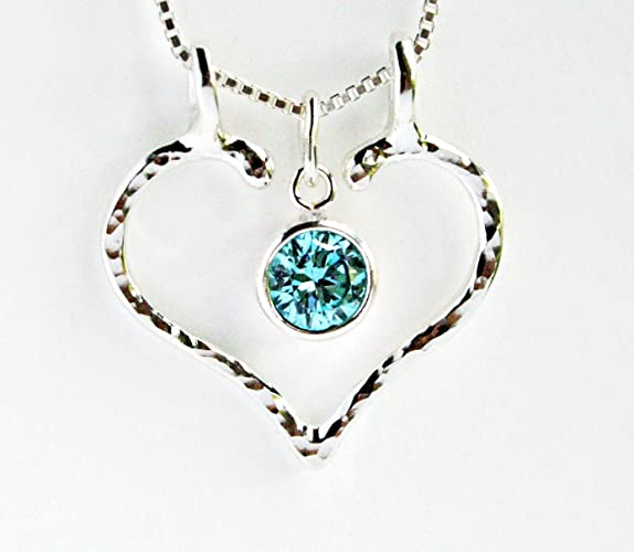Amazon ring holder necklace aquamarine hammered open heart by ring holder necklace aquamarine hammered open heart by ali c art approx 24mm aloadofball Gallery