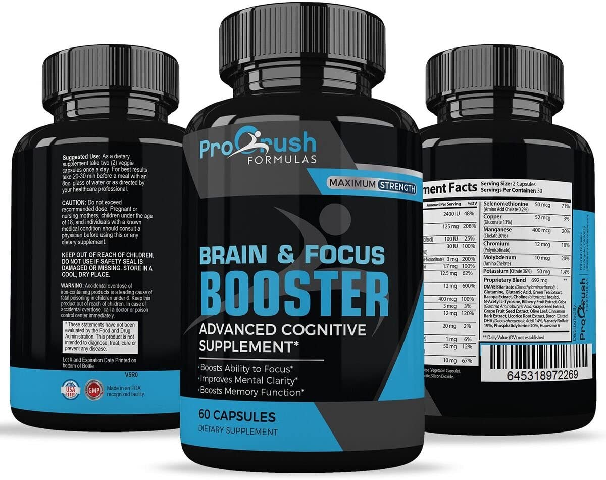 Brain Focus Nootropic Supplement Revolutionary Formula That Improves Mental Clarity Focus. Boosts Intelligence Levels Memory Function. Increases Level of Concentration Alertness by ProCrush