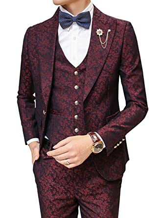 OUYE Men's Leaf Patterned Jacquard 40 Button 40 Piece Suit Jacket Vest Adorable Patterned Suit Jacket