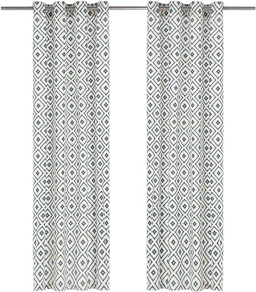 Festnight 2 Uds Cortinas con Anillas de Metal Algodón Cuadros Verde 140x245 cm para Salón, Dormitorio, Oficina, Elegantes Cortinas con Aros Metálicos: Amazon.es: Hogar