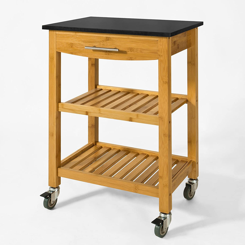 SoBuy® FKW28-SCH Chariot de cuisine de service roulant - Desserte sur roulettes en bambou - Etagère de la cuisine