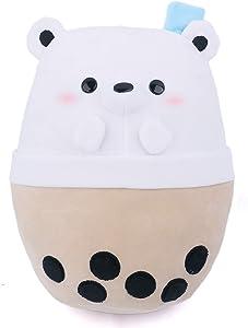 Avocatt Giant Bear Boba Plushie - 15 Inches Large Ice Bubble Milk Tea Asian Comfort Food Soft Plush Toy Polar Bear Stuffed Animal - Kawaii Cute Japanese Anime Style Gift