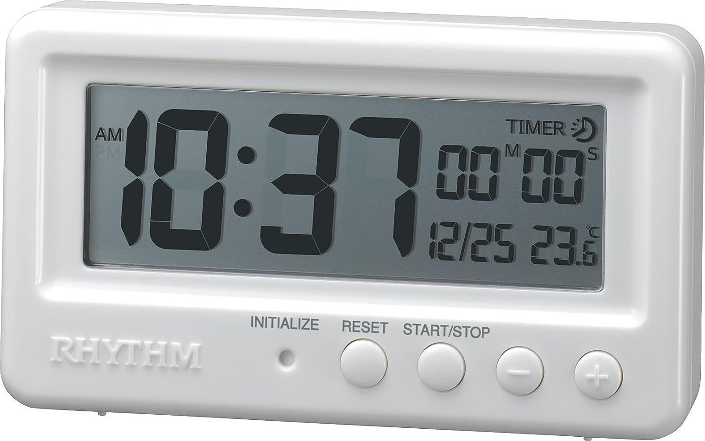 リズム時計 RHYTHM 置き時計 アクアプルーフ 防水 ・ タイマー付き ホワイト