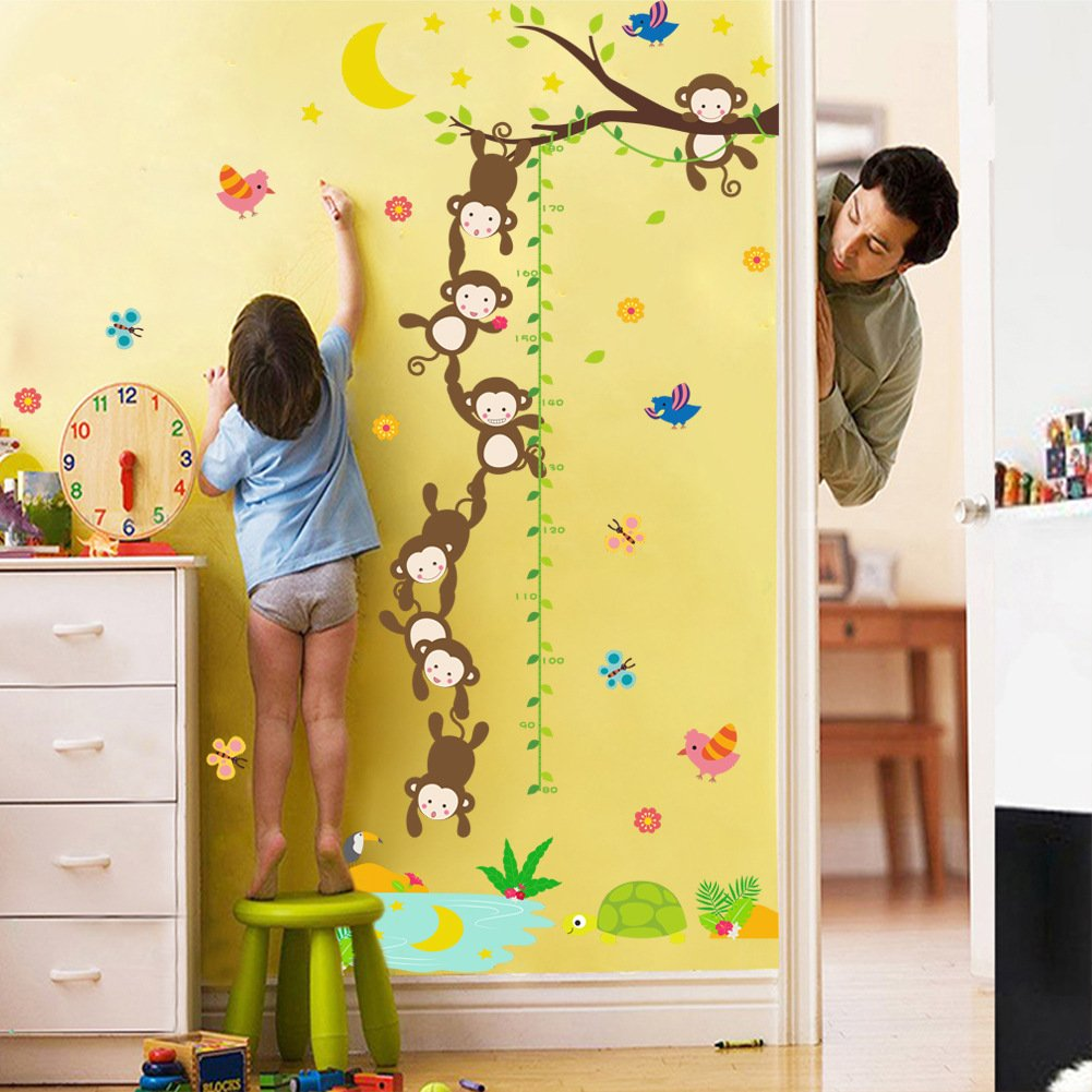 Animals Lion Monkey On Tree Branch Height Measure Wall Sticker for Baby Girl Boy Kids Children Bedroom Nursery Room Living Room Mural Decor Growth Chart Wall Art Decal Decoration