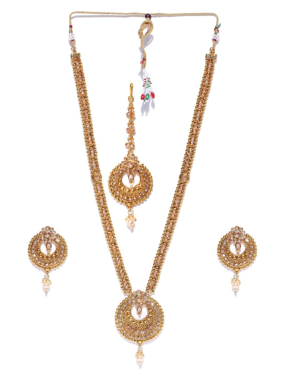 Joyeria Zircon Fashion Indian Bollywood Designer Gold Plated Long Necklace With Maang-Tikka