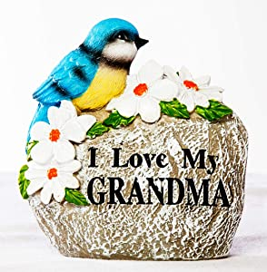 Shop Zoombie I Love My Grandma- Little Blue Bird Sitting Among White Flowers on a Garden Stone Figurine