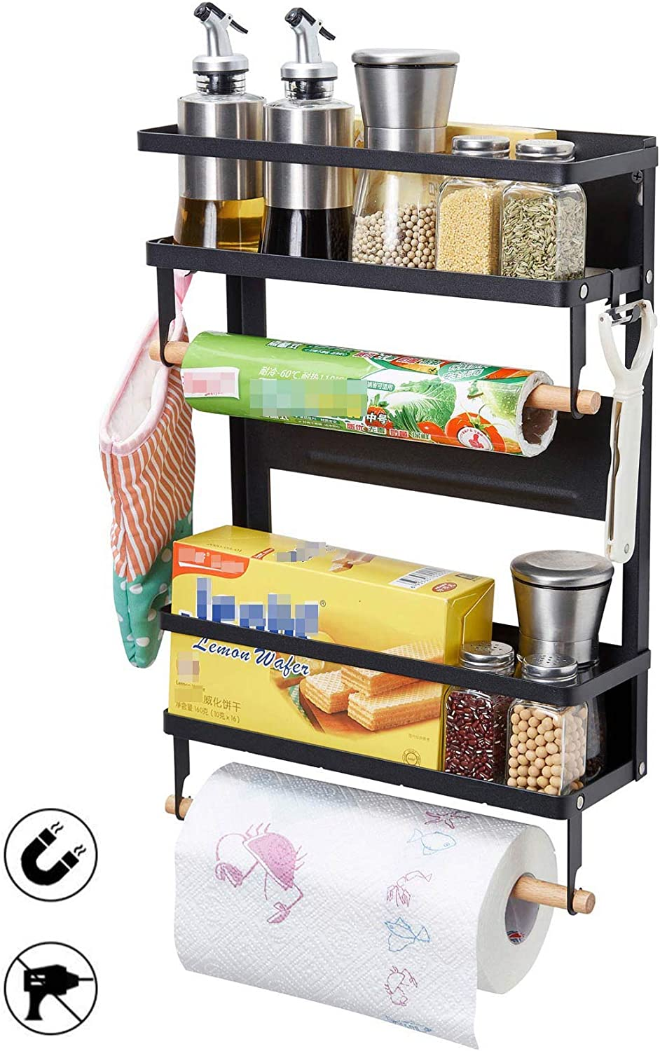 Magnetic Fridge Spice Rack Organizer Storage Holder Kitchen, Magnetic Paper Towel Holder Rack for Refrigerator Shelf Storage Hanger (Large, Black)
