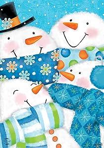 "Briarwood Lane Snow Buds Winter Garden Flag Snowman Snowmen Scarfs 12.5"" x 18"""