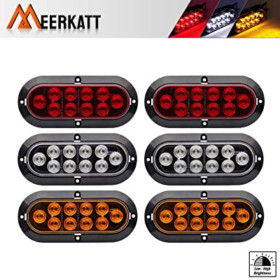 Meerkatt (Pack of 6) 6 Inch Oval 2 Amber + 2 Red + 2 White 10 LED Sealed Bulb Turn Signal Stop Reverse Rear Tail Lamp Light Cab ATV Boat Container Truck Lorry Pickup RV Van Car 12V DC Flash Mount DA12: Automotive