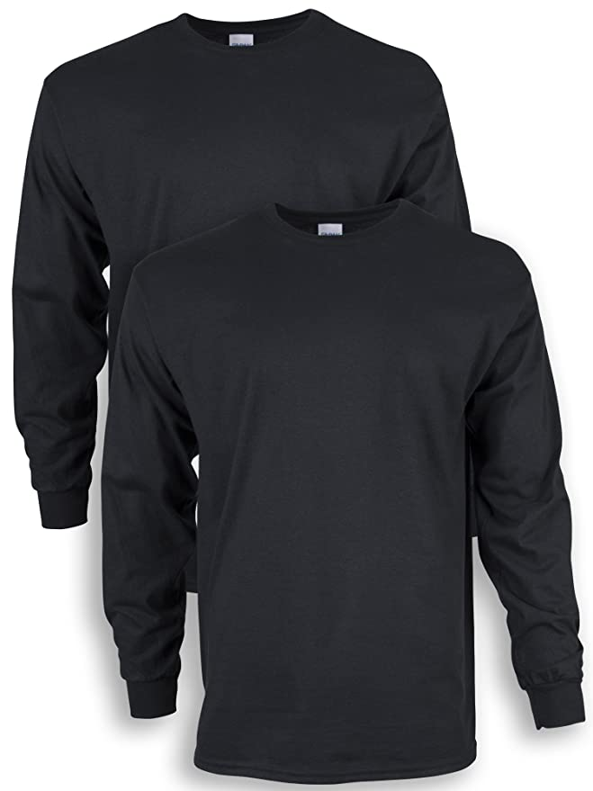 Gildan Men's Ultra Cotton Adult Long Sleeve T-Shirt, 2-Pack, Black, X-Large